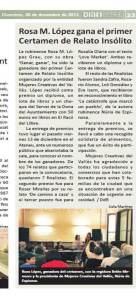 Relato insólito ganador del Certamen de relato insólito en Rubí (2013)