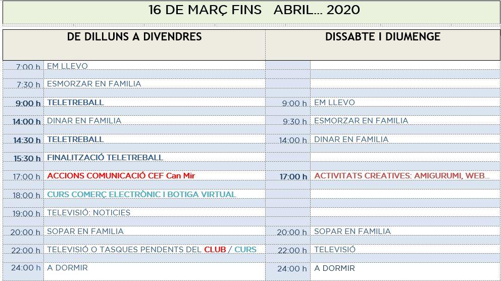 #PasionConTinta: Calendari setmanal #JoEmQuedoACasa